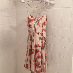 Free People Linen Floral Strappy Dress